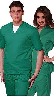 Promo - Divisa Verde Ospedaliero Unisex Sanitaria ospedaliera Casacca e Pantalone, 100% Cotone Infermiere, OSS, Medico, SPEDIZIONE 24/48h a casa Tua SPEDIZIONE 24/48h a casa Tua (M)