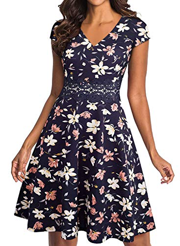 - YATHON Women's Wedding Guest Floral Formal Party A Line Dress Retro Embroidery Lace Floral Print Patchwork Swing Casual Wear to Work Dress (L, YT009-navy Floral)
