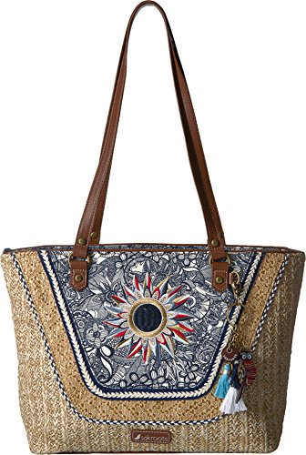 Sakroots Meadow Medium Satchel, Navy - 2 Canvas Meadow