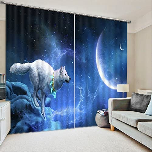 Newrara White Wolf Chasing The Moon Printing Blackout 3D Curtains 2 Panels for Living Room Bedroom,Free Hook Included 118W106 L, Blue