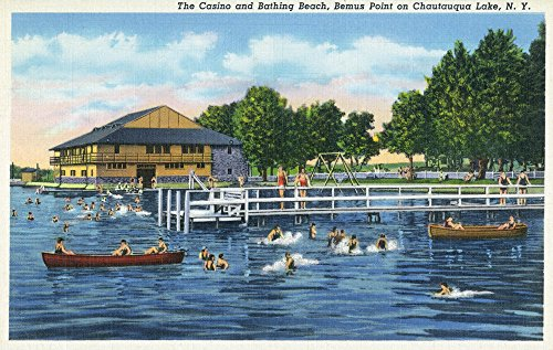 Chautauqua Lake, New York - Bemus Point; View of Casino and Beach (12x18 SIGNED Print Master Art Print w/ Certificate of Authenticity - Wall Decor Travel Poster) Signed Casino