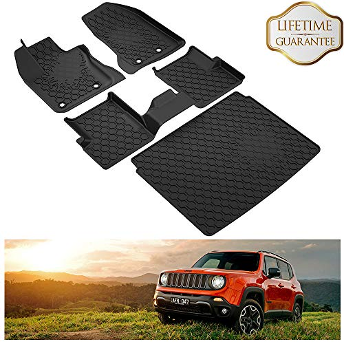 (KIWI MASTER Floor Mats & Cargo Liners Set Compatible for 2015-2019 Jeep Renegade Accessories Front Rear Slush Mat Liner Black All Weather Protector )