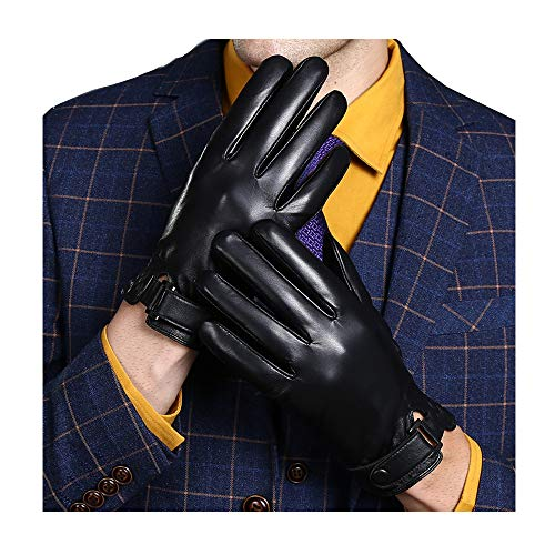 (KelaSip Sheepskin Leather Gloves Touchscreen Winter Warm Business Fashion for Men's Texting Driving)