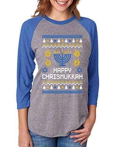 Tstars Happy Chrismukkah Ugly Xmas Hanukkah 3/4 Women Sleeve Baseball Jersey Shirt Medium Blue/Gray (Sweater Christmas Star Of David)