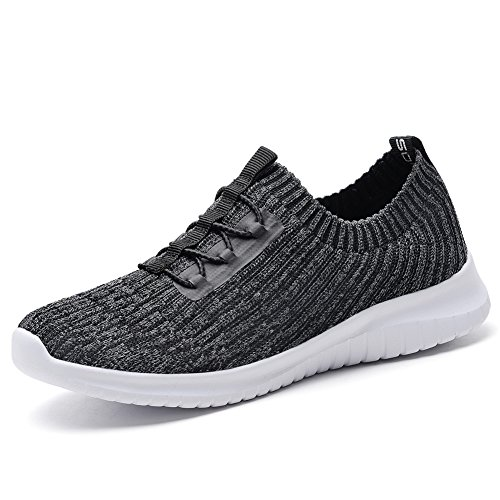 TIOSEBON Women's Lightweight Casual Walking Athletic Shoes Breathable Flyknit Running Slip-On Sneakers 9 US Deep Gray