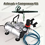 Pro One Double-Action Airbrush & Compressor Kit Dual-Action Air Brush Set, Regulator and Pressure Gauge, Braided Hose, and Holder For Art Tattoo Nail