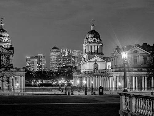 Wall Art Prints - Greenwich Observatory Park London UK City Night Architecture Buildings Lighting - Fabric Cloth Rolled Wall Poster Print - Size:16x12 Inches Black and White