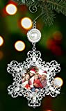 ornament frame - Christmas Photo Ornament - Silver Metal Snowflake with Crystals and Pearls - Hanging Snowflake Ornament - Filigree Snowflake