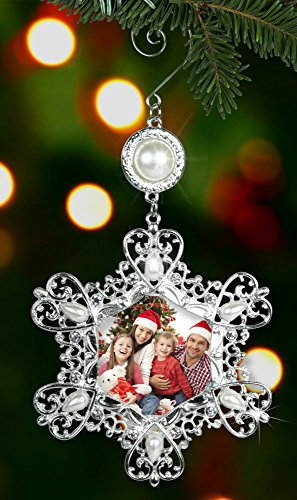Christmas Photo Ornament - Silver Metal Snowflake with Crystals and Pearls - Hanging Snowflake Ornament - Filigree Snowflake (Picture Ornament)