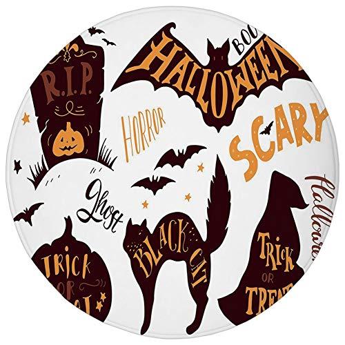 Round Rug Mat Carpet,Vintage Halloween,Halloween Symbols Trick or Treat Bat Tombstone Ghost Candy Scary Decorative,Dark Brown Orange,Flannel Microfiber Non-slip Soft Absorbent,for Kitchen Floor Bathro]()