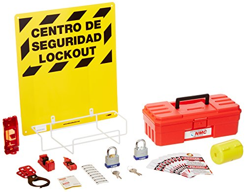 NMC LOK2BI 11 Piece Bilingual Electrical Lockout Center with Wire Basket, 16'' Length x 14'' Height, Yellow Board by NMC