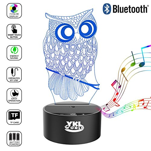 YKL WORLD Owl Table Lamp Bluetooth Speaker, 3D Illusion Beside Night Light 7 Color Changing Touch Mood Lamps Toys Gifts Party Nursery Kids Owl Lover Bedroom Decoratio (Illusions Playing Optical Card)