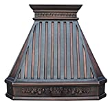 Copper Kitchen Stove Hood with Decorative Patterns Wrapped Around...