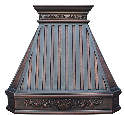 Copper Kitchen Stove Hood with Decorative Patterns Wrapped Around Comes with Powerful Stainless Steel Vent and Baffle Filter Sinda - Hamilton Decorative Vent