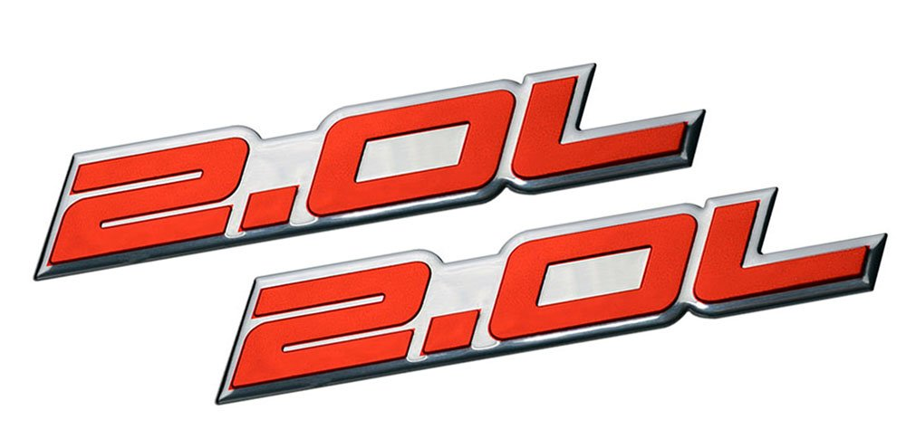 2 x (pair/Set) 2.0L Liter Embossed RED on Highly Polished Silver Real Aluminum Auto Emblem Badge Nameplate for Ford Edge Escape SEL Escort Explorer Focus SE ...