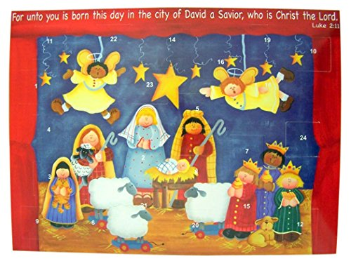 Born This Day Christ The Lord Cardstock Advent Calendar with Die Cut Pull Tabs, 10 Inch (12) ()