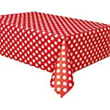 Decorative Dots Red Plastic Tablecover
