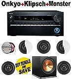 Onkyo TX-NR3030 11.2-Ch Dolby Atmos Ready Network A/V Receiver w/ HDMI 2.0 + 5 Klipsch - CDT2650CII + Klipsch - R115SW + Monster Cable - PLATXPMS50 Bundle