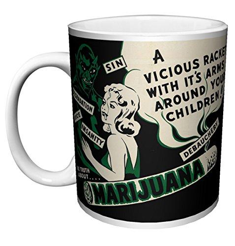 Reefer Madness Vintage Retro Cannabis Weed Marijuana Novelty Drug Smoking Humor Porcelain Gift Coffee (Tea, Cocoa) (11 OZ C Handle Ceramic Mug)