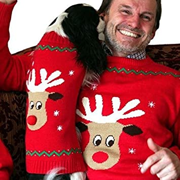 Animate Dog Owner Matching Christmas Jumpers With Red Nosed