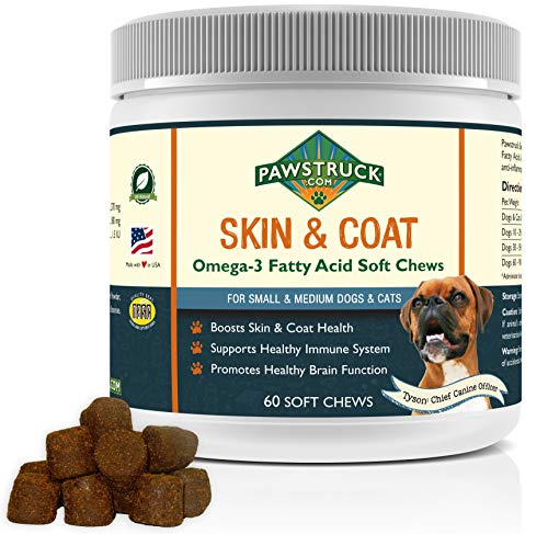 Natural Omega 3 Fish Oil for Dogs & Cats Soft Chew Supplement (Small & Medium Dogs/Cats, 60 CT) w/Omega-3 Fatty Acids, EPA, DHA, Vitamin E for Healthy Skin, Coat, Joints & Brain Function, Made in USA