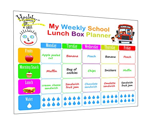 Weekly meal planner and tracker dry erase board ,Weekly planner for kids, lunch box for kids,smart planner +4 Dry Erase Markers by Healthy - And 13s Black Green