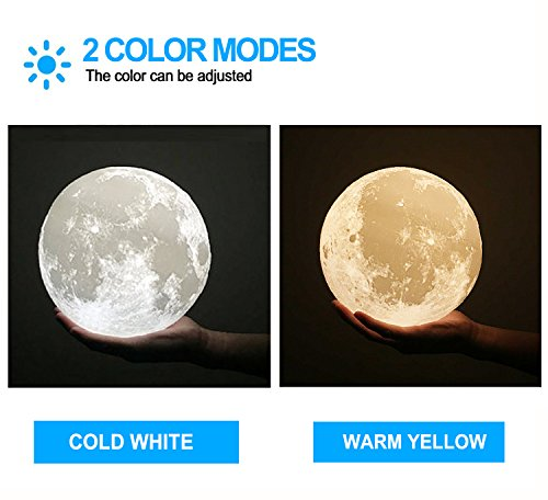 ACED 3D Printing 4.7Inch Moon Light Lamp Baby Night Light, Dimmable Color Changing, Touch Sensor Battery Operated LED Table Lamps Bedside for Bedrooms, Cool Christmas Gifts for Kids Teens by ACED (Image #3)