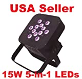 Lumin Lights Slick Par 12x15W 5-in-1 LED RGBAW Par can puck style DMX Light uplighting black housing