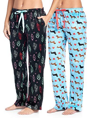 en's Plush Mink Fleece Pajama Sleep Pants 2 Pack - Set 2 - Boho Feather/Turquoise Dachshund Lover - Medium ()