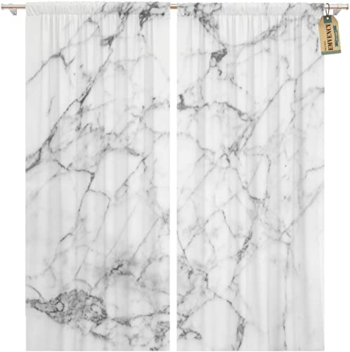 Emvency Window Curtains 2 Panels Rod Pocket Drapes Satin Polyester Blend Gray Abstract White Marble Wall and Bathroom Interior Architecture Living Bedroom Drapes Set 104 x 96 Inche