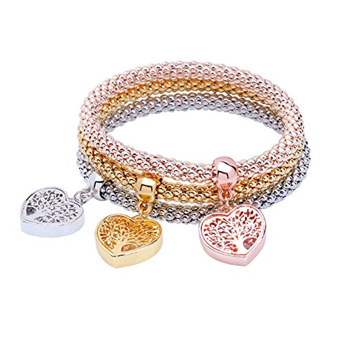 I's 3 Bracelets Multilayer Gold/Silver/Rose Gold Corn Chain Charms with Crystal Stretch Bracelet Set for Women (Queen Crown)