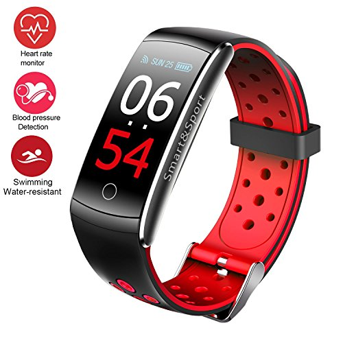 Fitness Tracker Watch, Upgraded IP68 Swim Water-resistant HD Color Screen Smart Bracelet, HR/Blood Oxygen/Pressure/Calorie/Sleep Monitor,Pedometer Activity Tracker BLE 4.0 for Android/IOS (Red)