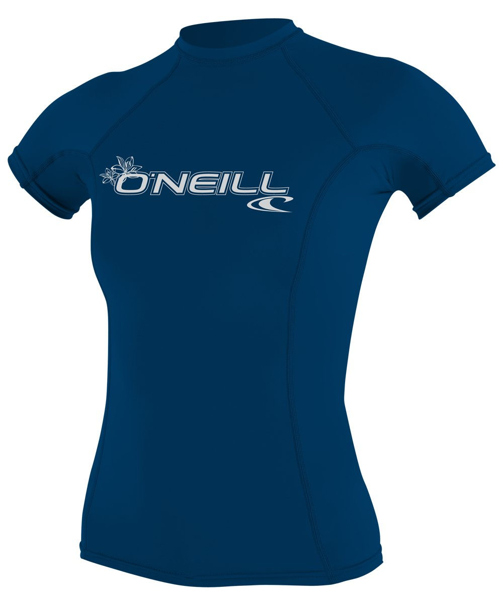 O'Neill Women's Basic 50+ Skins Short Sleeve Rash Guard, Deep Sea, X-Small by O'Neill Wetsuits