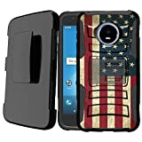 Untouchble Case for Moto Z2 Play Case, Moto Z2 Force, Moto Z Play 2 Case [Heavy Duty Clip]- Shockproof Swivel Holster Case with Built in Kickstand - Vintage America Flag