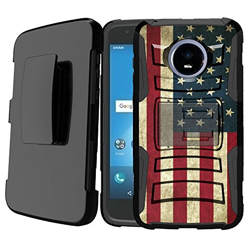 Untouchble Case for Moto Z2 Play Case, Moto Z2 Force, Moto Z Play 2 Case [Heavy Duty Clip]- Shockproof Swivel Holster Case with Built in Kickstand - Vintage America Flag by Untouchble