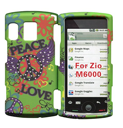 Love & Peace Green Sanyo Zio by Kyocera M6000 Cricket Case Cover Hard Phone Case Snap-on Cover Rubberized Touch Faceplates - Kyocera Green Faceplates