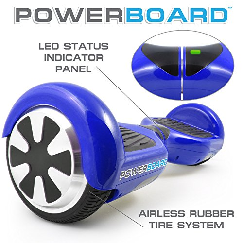 Powerboard by HOVERBOARD – (SAFE UL 2272 CERTIFIED) Blue – 2 Wheel Self Balancing Scooter with LED Lights – Hands Free Battery Powered Electric Motor –Personal Transporter – USA Company