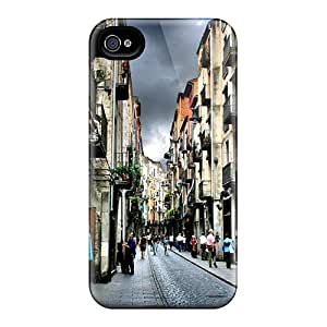 High Grade Lucklystar Flexible Tpu Case For Iphone 4/4s - Opening Shops In Side Street Of Girona
