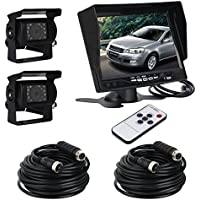 ATian 7 LCD Monitor Screen & 2 x IR Car Rear View Reverse Camera Kit for truck Trailer Bus RV Vehicle