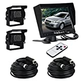 ATian 7'' LCD Monitor Screen & 2 x IR Car Rear View Reverse Camera Kit for truck Trailer Bus RV Vehicle