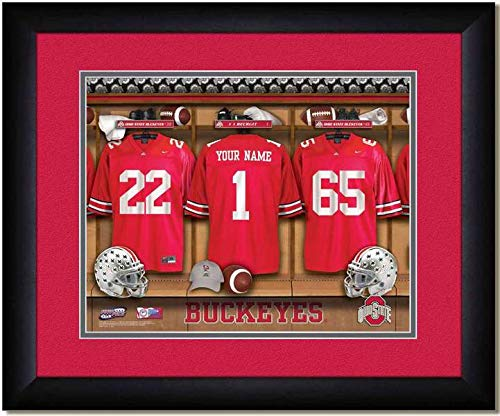 Ohio State Buckeyes University Football Team Locker Room Personalized Jersey Officially Licensed NCAA Sports Photo 11 x 14 Print