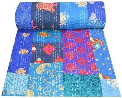 Handmade Kantha Quilt Reversible Indian Cotton Sari Kantha Blanket Queen Size Kantha Bedspread Natural Color Ajrakh Kantha Bedding Throw