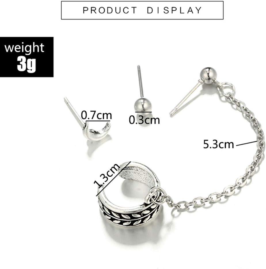 model Kofun 1 # pendientes de cadena colgante para mujer Pendientes de plata envejecida para cart/ílago 1#