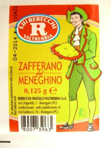 Rebecchi Zafferano Del Meneghino Italian Saffron Powder, 0.125 Gram 12 Pack