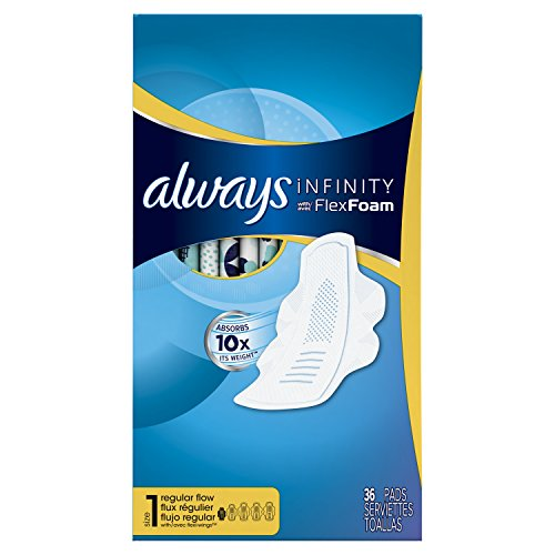 Always Infinity Size 1 Feminine Pads with Wings, Regular Absorbency, Unscented, 36 Count - Pack of 3 (108 Total Count) (Packaging May Vary) by Always