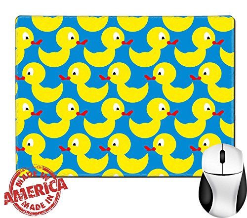 """Price comparison product image Luxlady Natural Rubber Mouse Pad/Mat with Stitched Edges 9.8"""" x 7.9"""" ID: 43815265 Bathing duck seamless pattern Background of yellow toys Vector ornament yellow bird on a blue background"""