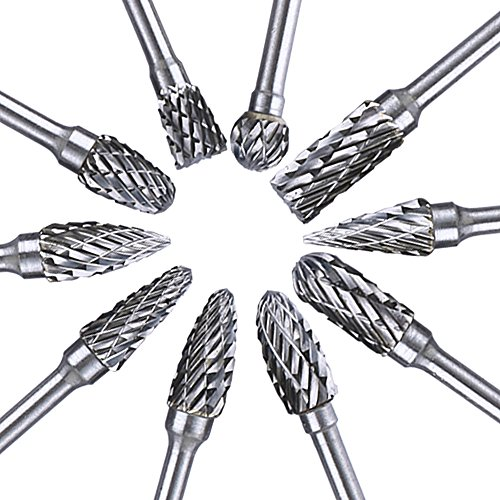 Longruner 1 Set Double Cut Carbide Rotary Burr (10 Pieces 3X6MM Tungsten Steel Tungsten Carbide Rotary Bits) Diamond Burrs for Woodworking Drilling Carving Engraving LC02 by Longruner (Image #1)