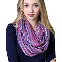 (17 COLORS) Shimmer Sparkle Infinity Scarf, Women's Festival Bliss Lightweight Boho Crochet Loop Shawl