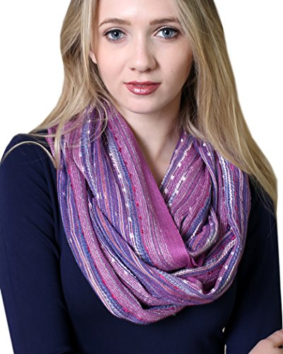 Anika Dali Women's Festival Bliss Shimmer Boho Infinity Scarf (French Lilac Purple)