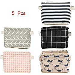 5 Pcs Foldable Storage Bin Basket,Foldable Fabric Storage Receive Basket with Handle Cotton Linen Blend Storage Bins for Makeup, Book, Baby Toy,8x6x5.5 inch